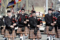 Bagpipe group marches in Saint Patrick´s parade.