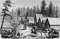 Village of settlers during the Gold Rush. California, engraving from 'Le tour du monde'