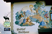 Oberammergau painted walls. Bavaria. Germany