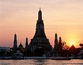 Asia, Bangkok, Chao, Holiday, Landmark, Phraya, River, Sunset, Temple of dawn, Thailand, Tourism, Travel, Vacation, Wat arun,