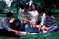 Students studying in the park, Malaysia