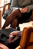 WOMAN IN CONSULTATION<BR>Photo essay from doctor´s office.<BR>Physician-sexologist. Sexotherapy. Doctor practicing hypnosis (one of several therapies ...