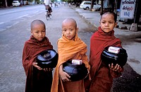 Young monks at alms round early in the morning. Yangon, Myanmar