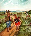 SG hist., Literatur, ´Die Häschenschule´, Verse  von Albert Sixtus, Bilder von Fritz Koch-Gotha,  Bild 2: Schulweg KÜNSTLERRECHTE NICHT BEI INTERFOTO ...
