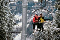 Couple on a ski lift