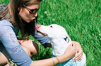 Lady owner with dog outdoors