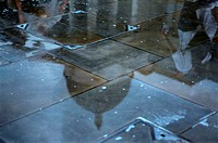 St pauls cathedral reflected in puddle