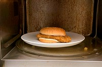 Chicken burger in a microwave