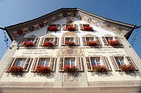 The Rathaus in Gersau, Canton Schwyz, Switzerland. Built in 1745, a typical piece of architecture in that region of Switzerland