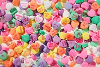 Close up of colorful Valentines message heart candies