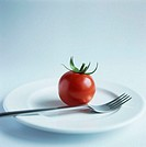 Tomato (Lycopersicon sp.) on a plate. This could represent dieting. This fruit is a good source of vitamins A and C.