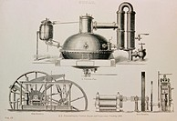 19th century sugar cane processing technology. Drawings showing devices used to crush and process sugar cane. A steam-powered crushing mill is shown a...