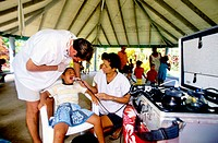 Travelling dentist at work in a school. Ua-Pou island. Marquesas archipelago. French Polynesia