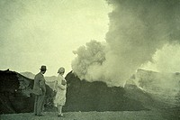eruption of vesuvius in 1933, naples, italy