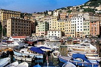 buildings in historic centre, camogli, italy