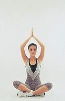 woman, yoga, inside