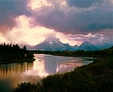 Sunset on Mount Moran from Oxbow Bend, Snake River. Grand Teton National Park. Teton County, Wyoming. USA