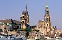 Dresden, Elbe river with Palace and Hofkirche. Dresden, Saxony. Germany.