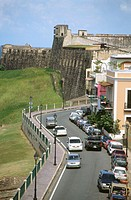 Norzagaray Boulevard and San Cristóbal Fort. Old San Juan. Puerto Rico