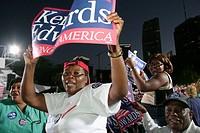 Democratic Party Presidential Election Rally. Biscayne Boulevard. Bayfront Park. Miami, Florida. USA.