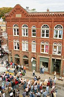 Historic bank building. Taste of Our Towns (TOOT) food tasting festival. Washington Street, Lewisburg. Greenbrier County. West Virginia. USA.