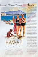 c.1927 Hawaii, Oahu, Tourist Bureau Ad, Waikiki beach sunbathers with native man