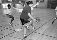 Girls playing basket in Rinkeby, Stockholm