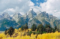 Grand Tetons in autumn, Grand Teton National Park. Wyoming. USA