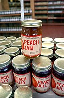 Jelly and jam which is homemade at a South Carolina Farm. Peaches from Local Abbott's Farm. USA