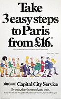 BR(CPU) poster for Sealink UK Ltd. ´Take 3 Easy Steps to Paris from 16 pounds - Capital City Service´, 1980.