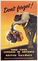 Poster produced for British Railways (BR) and the British Transport Commission (BTC) to remind passengers that their luggage could be sent on in advan...