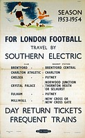 BR(SR) poster. Season 1953-1954. For London Football Travel by Southern Electric by Packham.