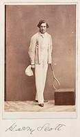 A carte-de-visite photograph of a man dressed for a game of tennis and holding a tennis racket, taken by an unknown photographer in about 1865.   A ca...