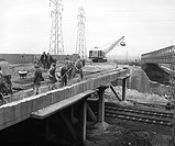 Railway bridge being built at Ripple Lane Marshalling yard, Barking, London, 8 March 1957. At this time the marshalling yard was being completed. Mars...