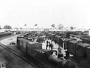 Agricultural equipment being unloaded from a train at Derby station, June 1906. The equipment is being exhibited at the Royal Agricultural show.  The ...
