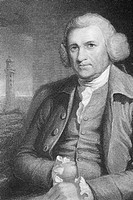 John Smeaton (1724-1792), English civil engineer, with the Eddystone lighthouse. Smeaton made his name with his design for the Eddystone lighthouse co...