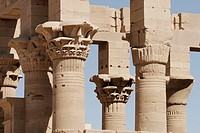Columns in Philae Temple. A temple for Isis. Aswan. Egypt