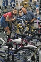 Family shopping for bike, portrait