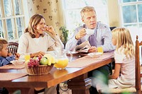 Family talking at table
