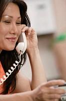 Woman placing phone order