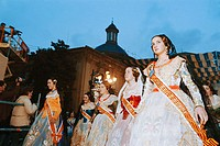 Falleras' (women in traditional costumes) during the 'fallas' festival, 2004. Valencia. Spain