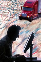 Composite of semi truck, man at computer, and map
