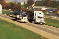 Trucks on highway (motion blur)