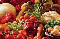 Close up of fresh fruit and vegetables