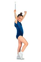 Girl in blue leotard with baton (portrait)