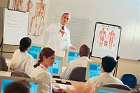 Medical instructor and students in classroom