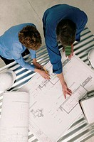 Architects working, aerial angle
