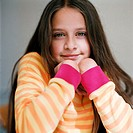 Portrait of a girl wearing a striped sweater (thumbnail)