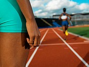 Female runners on race track