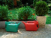 A pair of watering cans in garden